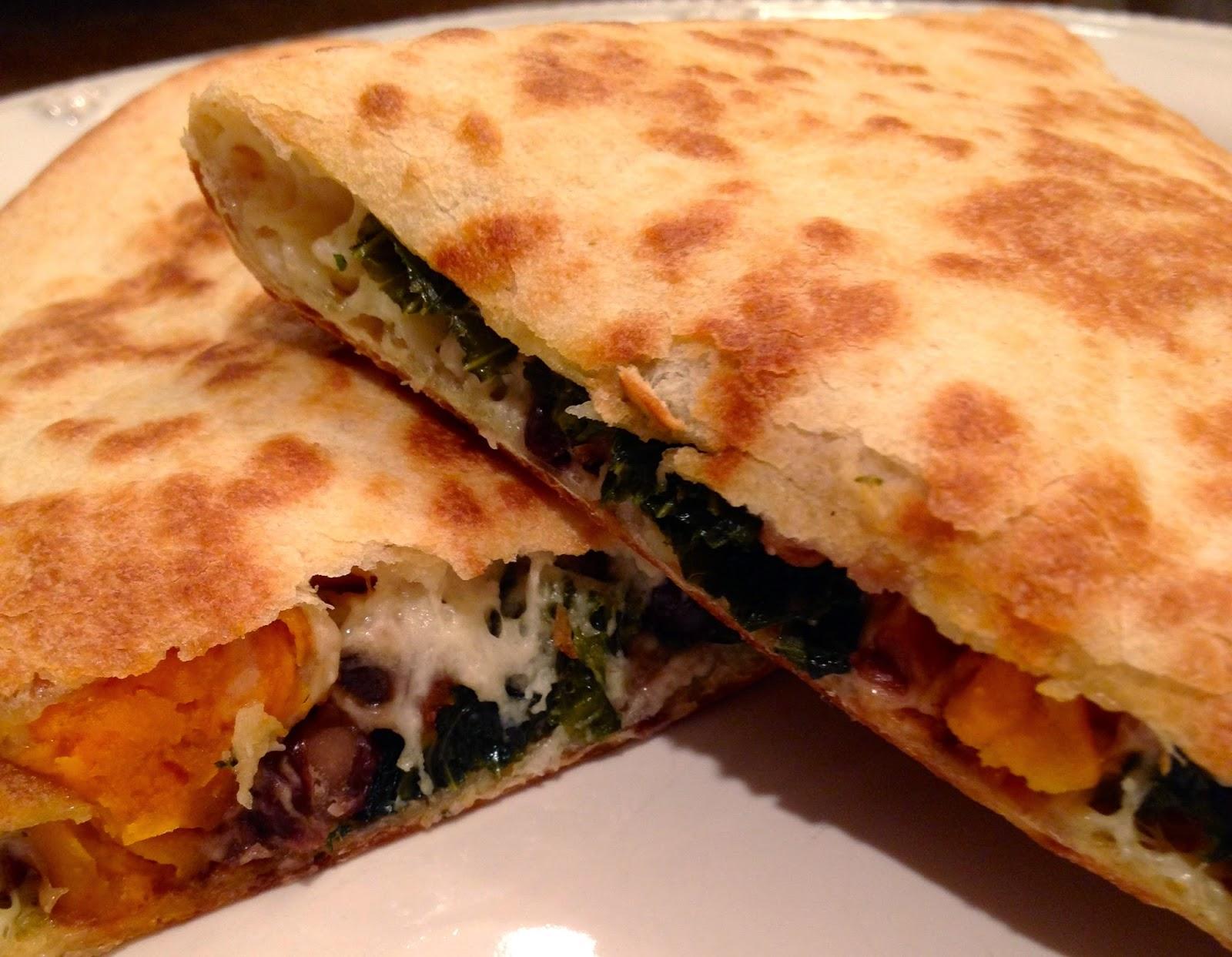 sweet potato, kale + black bean quesadillas - A Blonde's ...