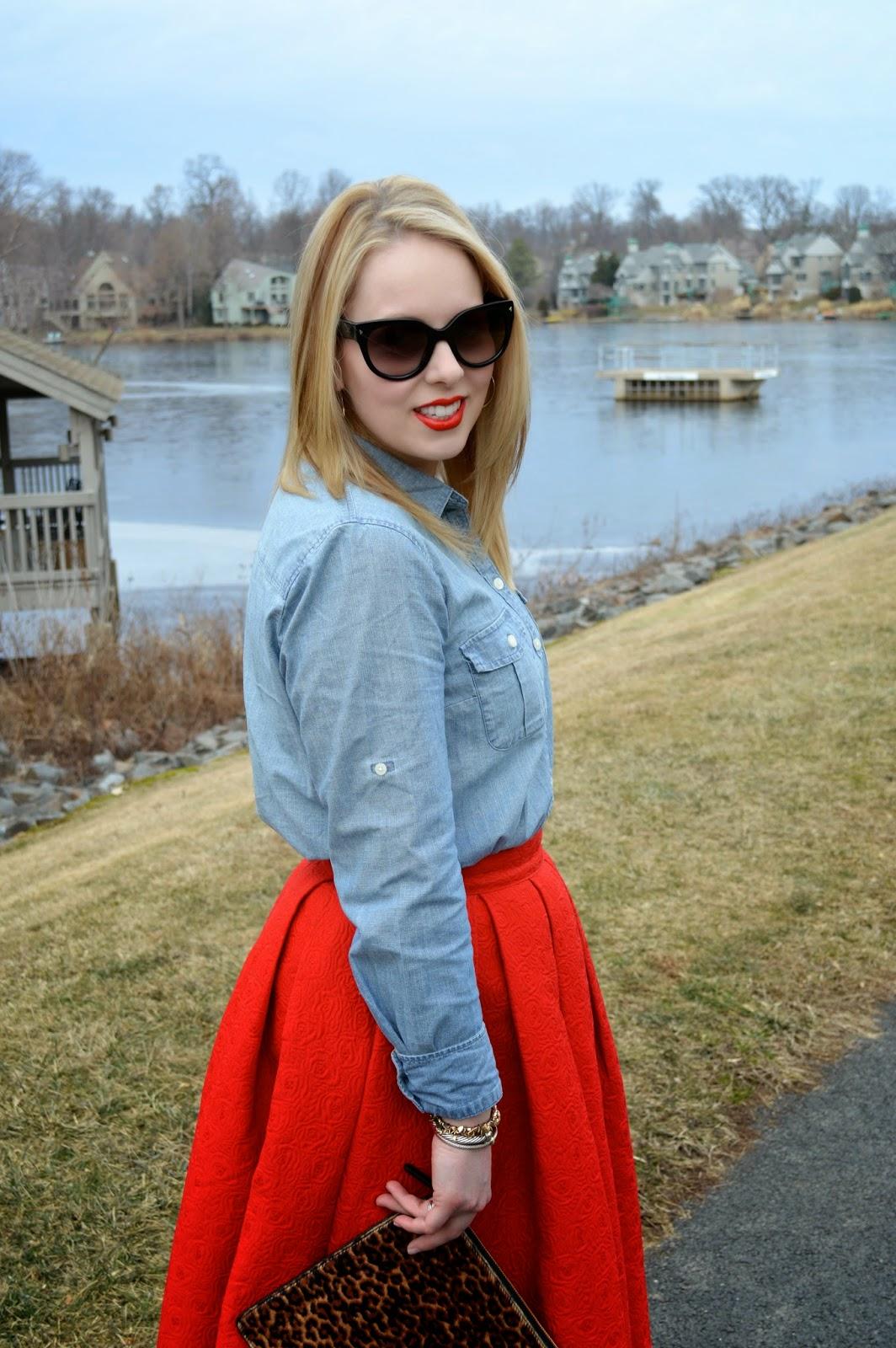 chambray-blouse-midi-skirt
