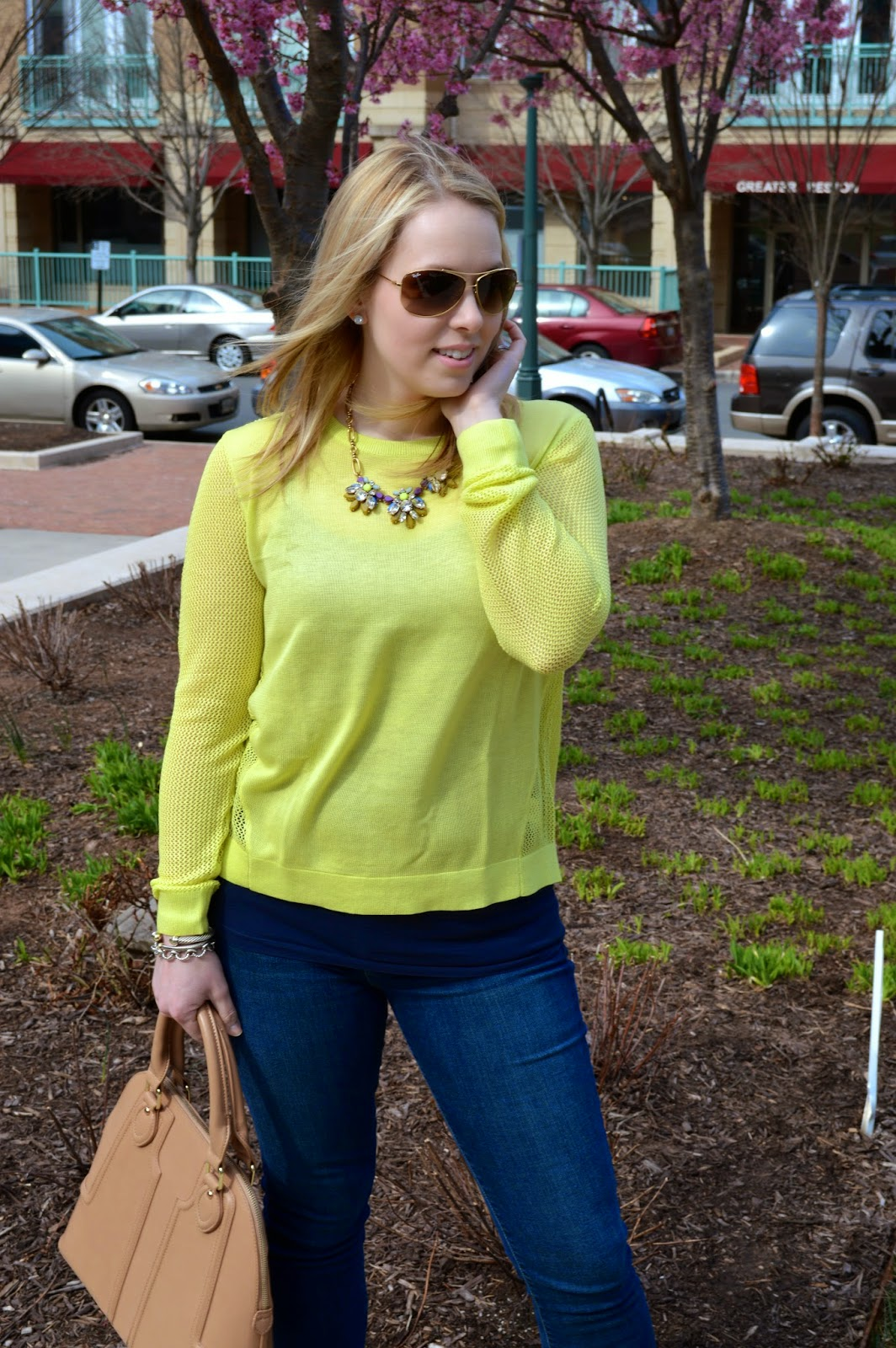 CAbi-clothing-lime-green-split-back-sweater