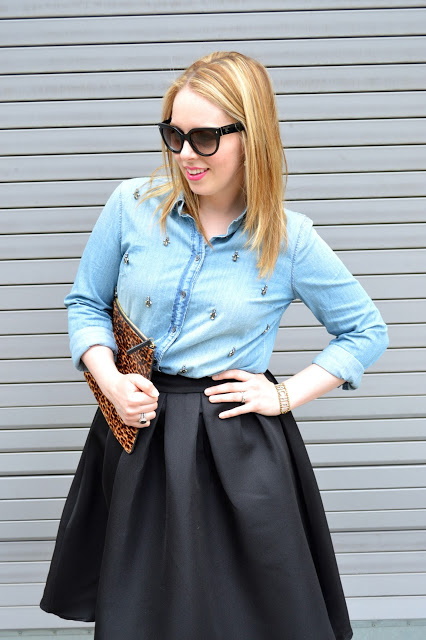 black-midi-skirt-chambray-top