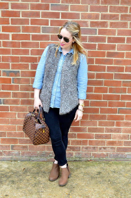 chambray-top-faux-fur-vest-fall-look
