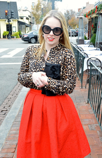 leopard-blouse-red-skirt