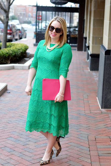green-dress-pink-accessories-outfit