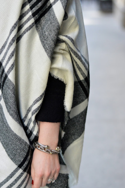black-white-plaid-poncho