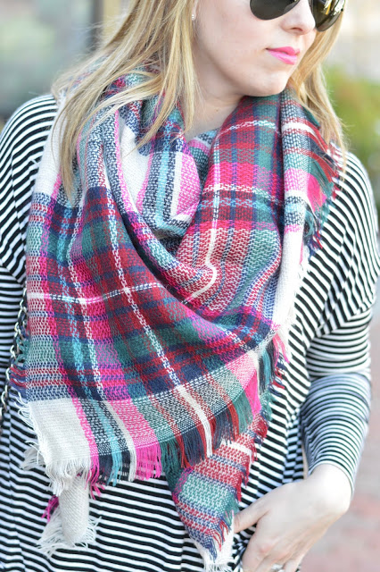 pink-blanket-scarf-stripe-tee-outfit