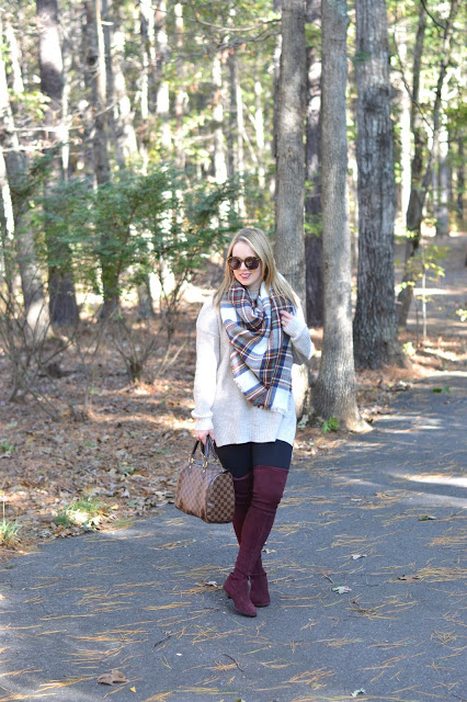 fall-outfit-blanket-scarf-over-the-knee-boots