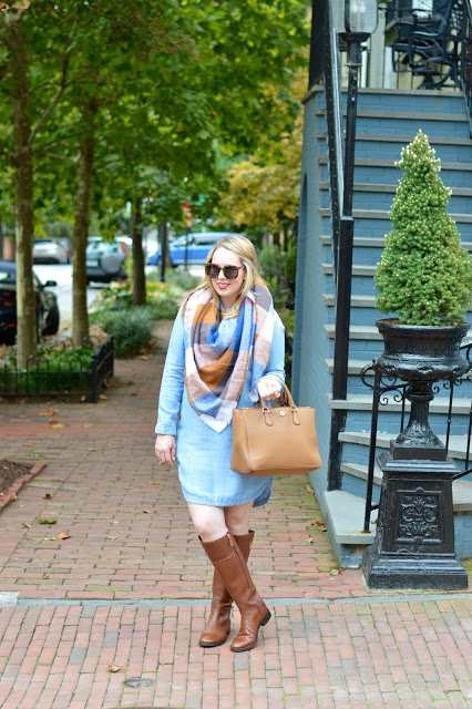 cute-thanksgiving-dress-blanket-scarf-outfit