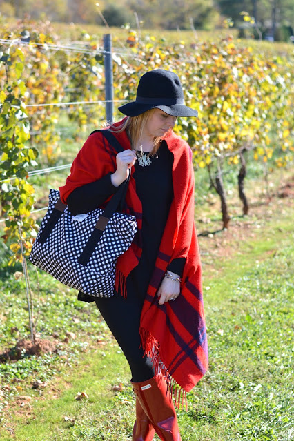 how-to-style-red-plaid-poncho