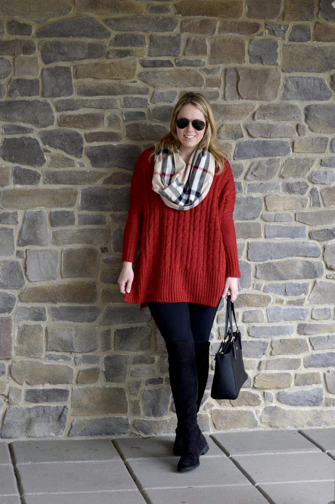 red-sweater-scarf-otk-boots-outfit