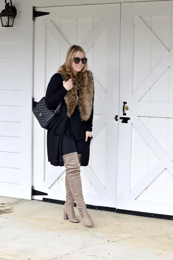 how-to-wear-faux-fur-stole-outfit