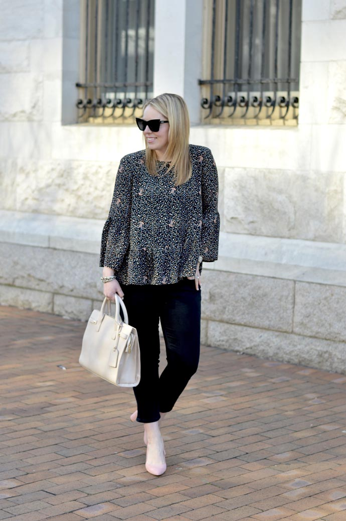 printed bell sleeve top - A Blonde's Moment - @rachmccarthy7