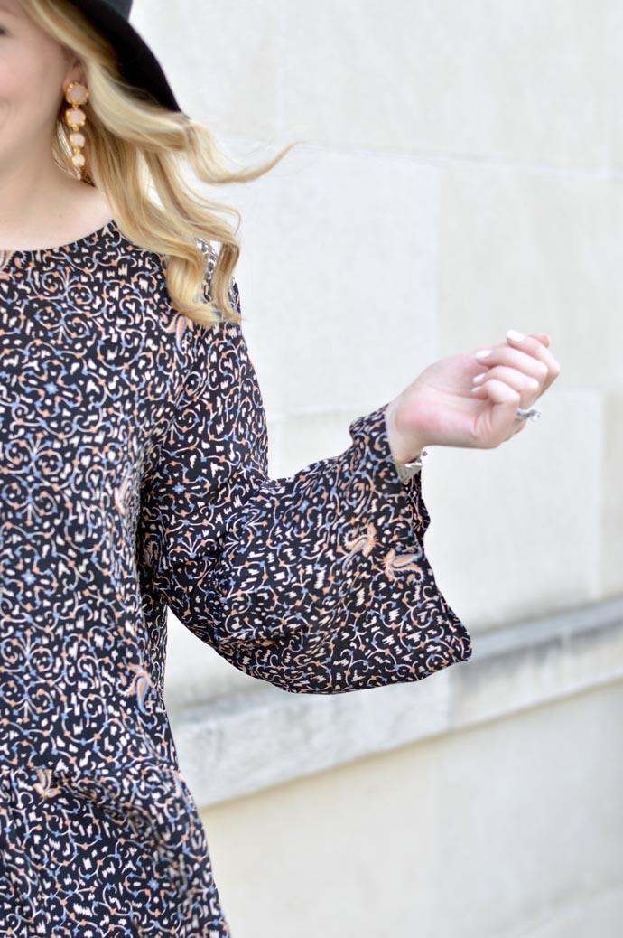 printed bell sleeve blouse