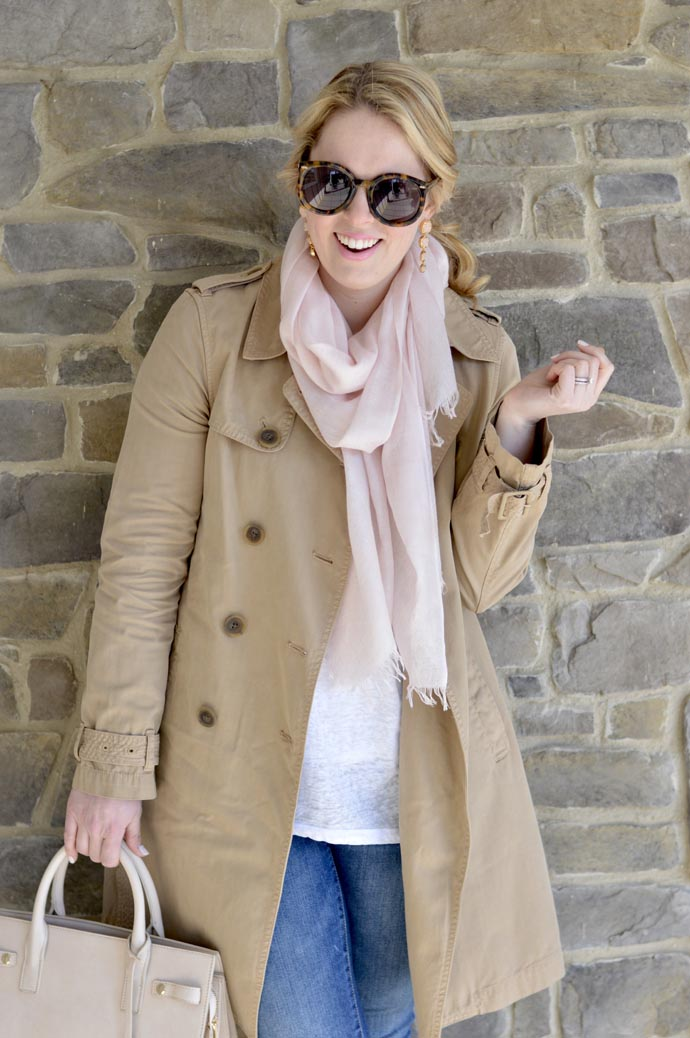blush scarf trench coat outfit idea