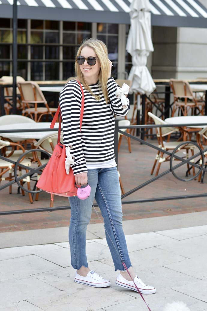 cute spring stripe top outfit idea