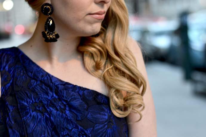 black tassel statement earrings