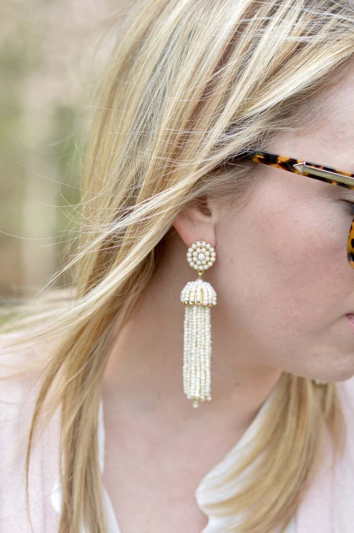 White Tassel Earrings A Blonde's Moment