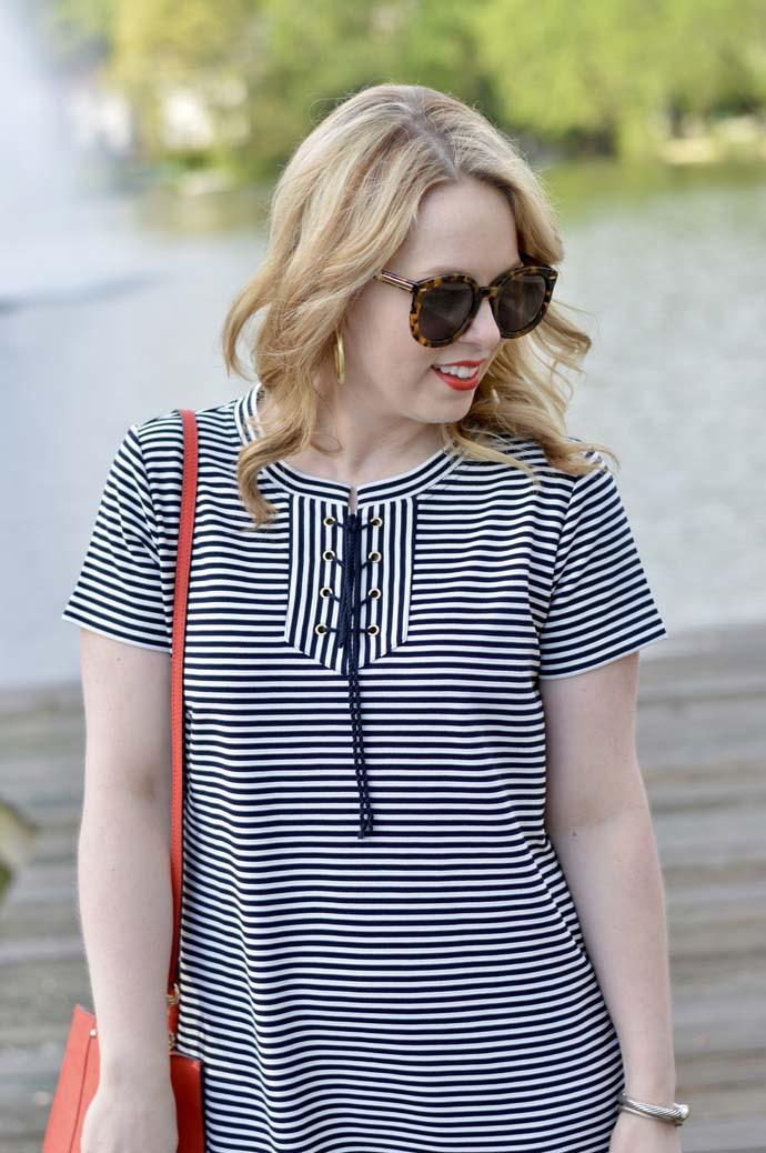 Lace-Up Stripe Dress