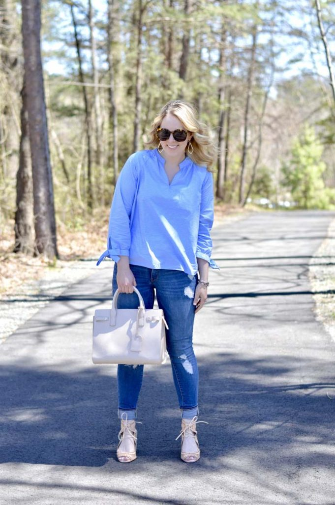 Blue and White Pinstripe Top Outfit @rachmccarthy7