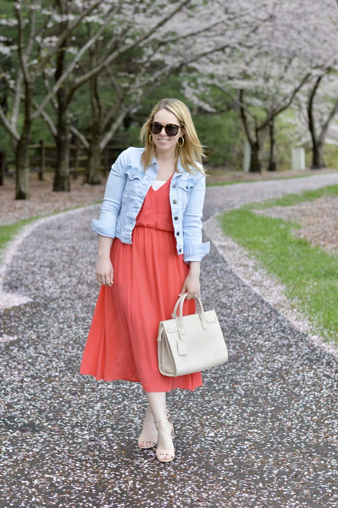 Coral WAYF Midi Dress @rachmccarthy7