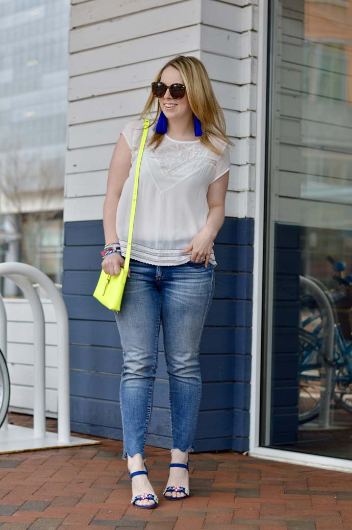 White Top and Jeans with Bright Accessories @rachmccarthy7