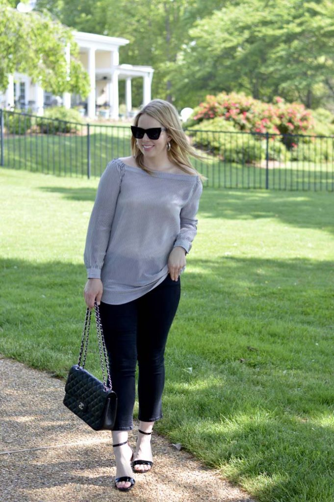 Stripe Off the Shoulder Top Outfit