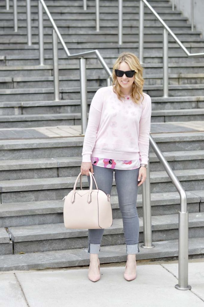 Pink and Grey Spring Outfit Idea