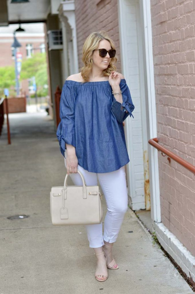 Chambray Off the Shoulder Top Outfit