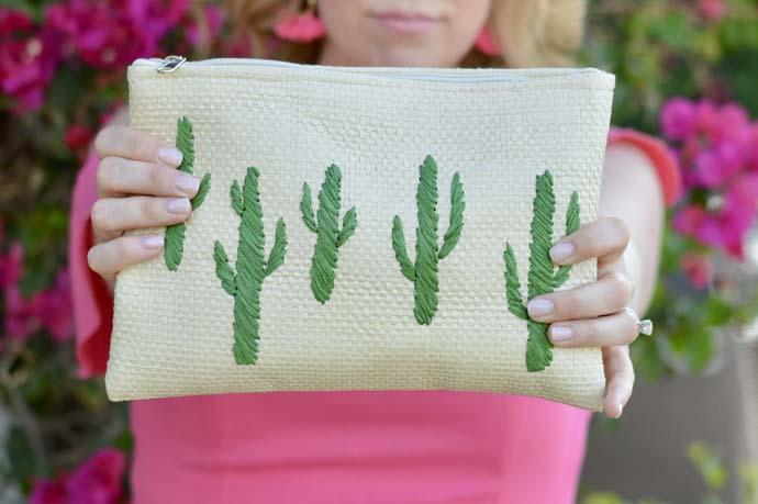 cactus straw clutch