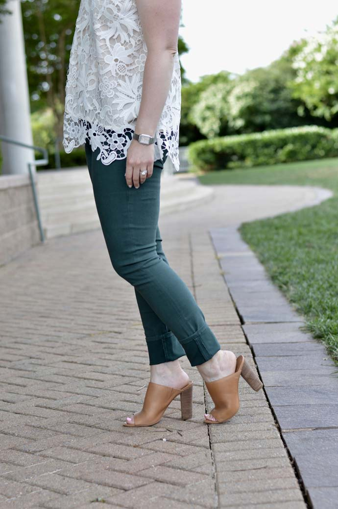 Green Pants Camel Mules Fall Outfit