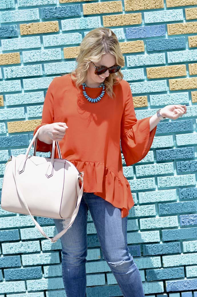 Orange Bell Sleeve Top Nordstrom