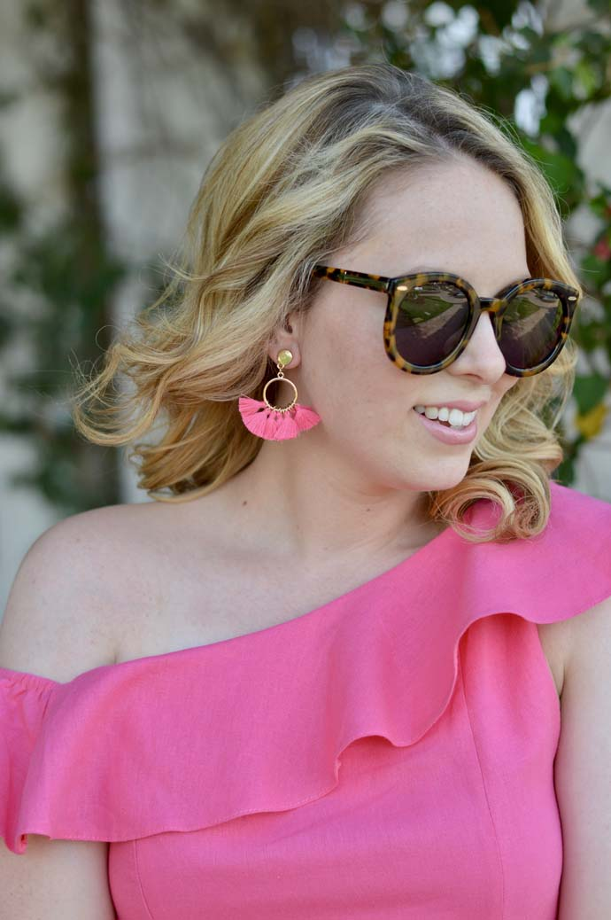 cute pink tassel earrings