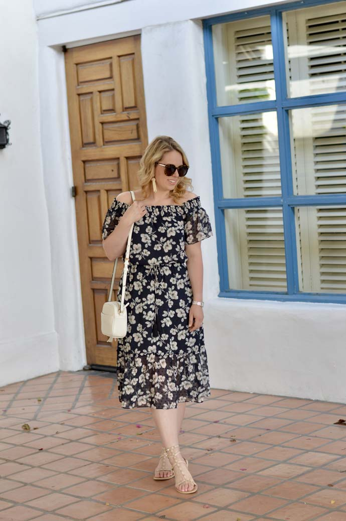 Floral Off the Shoulder Midi Dress