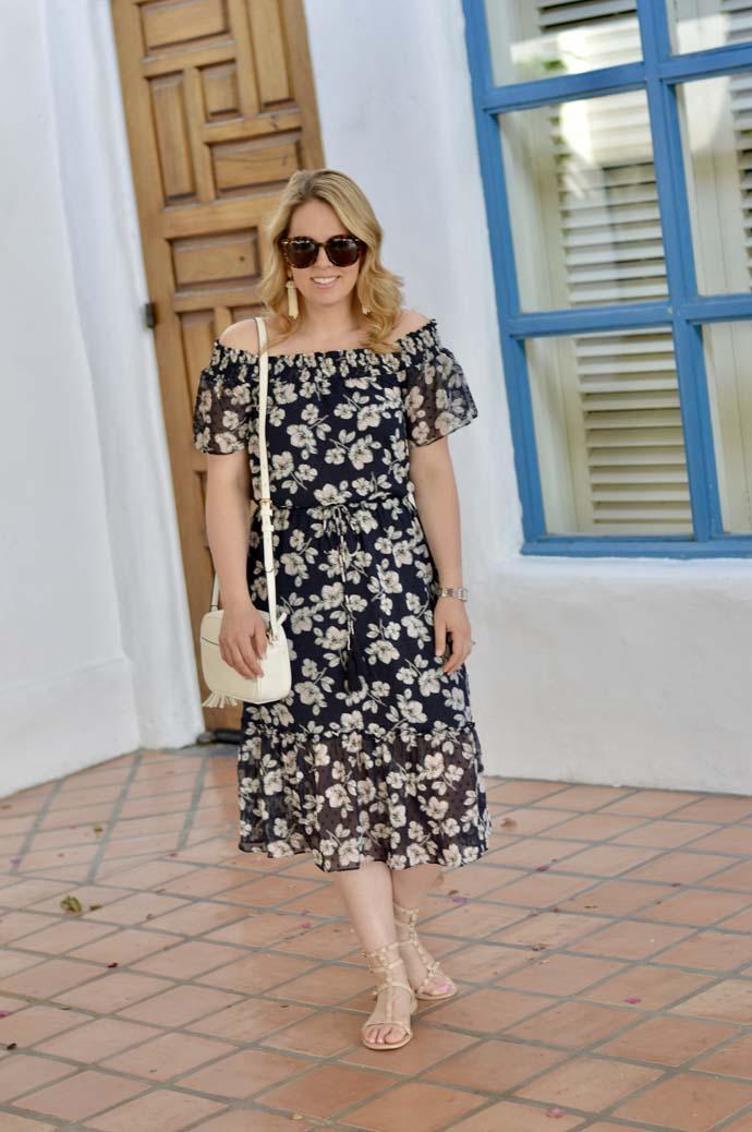 off the shoulder navy dress