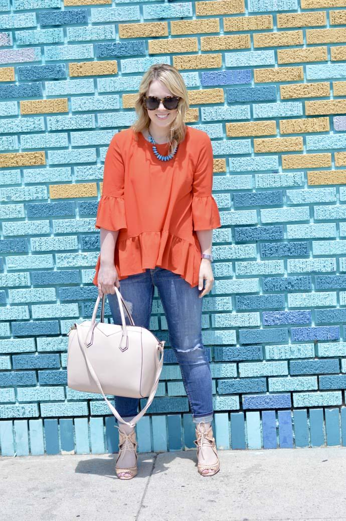 Orange Peplum Top Outfit
