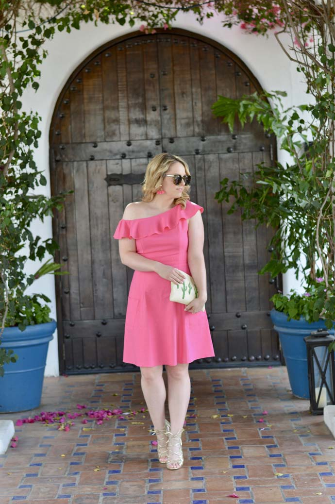 pink one shoulder ruffle dress