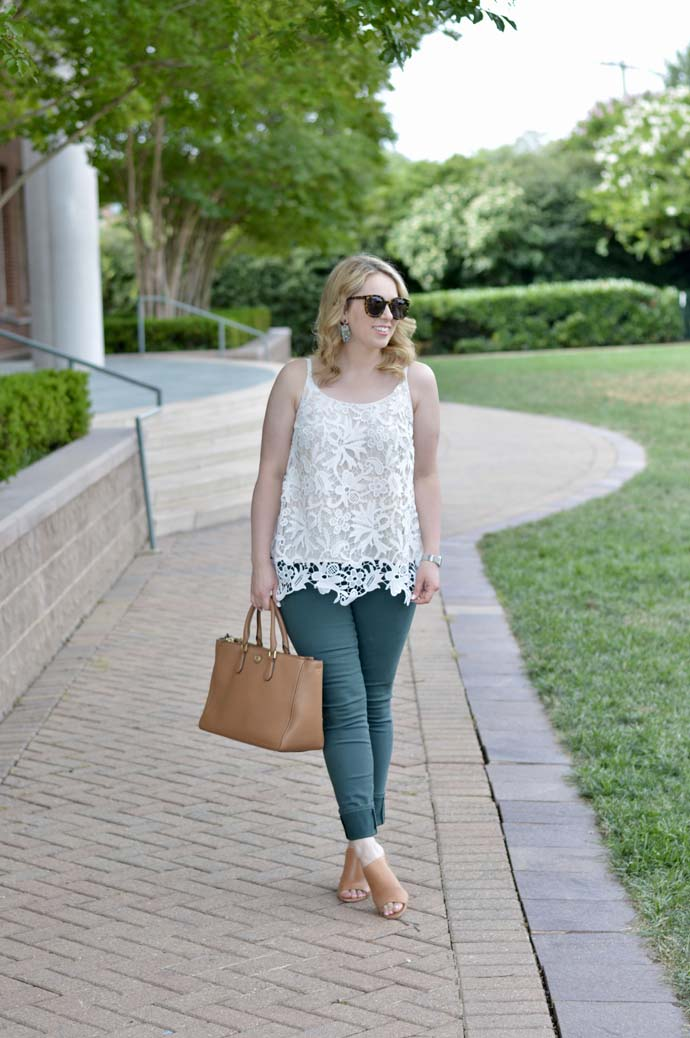 Lace Cami Green Jeans Outfit