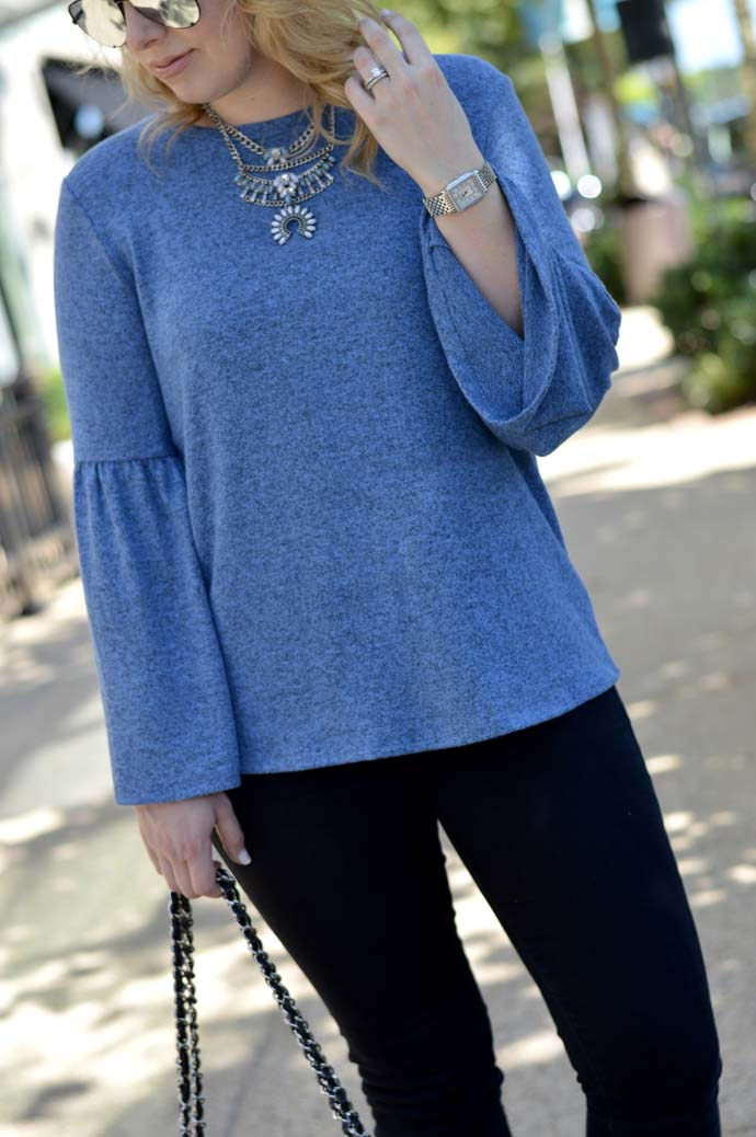 bell sleeve top and bib necklace