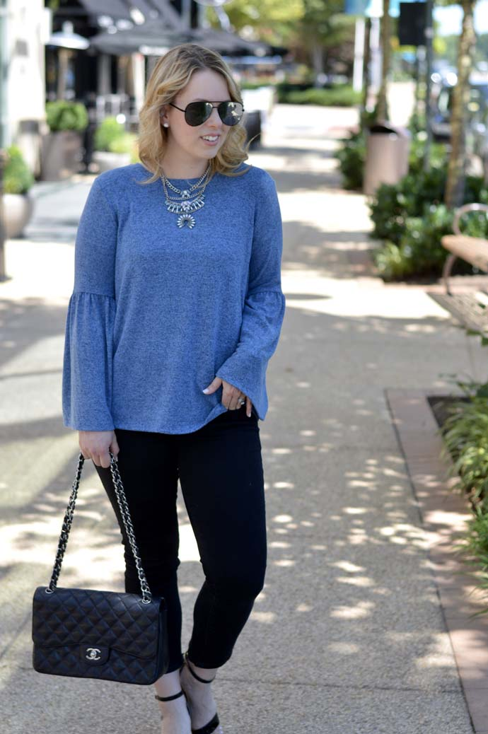 bell sleeve top cropped jeans
