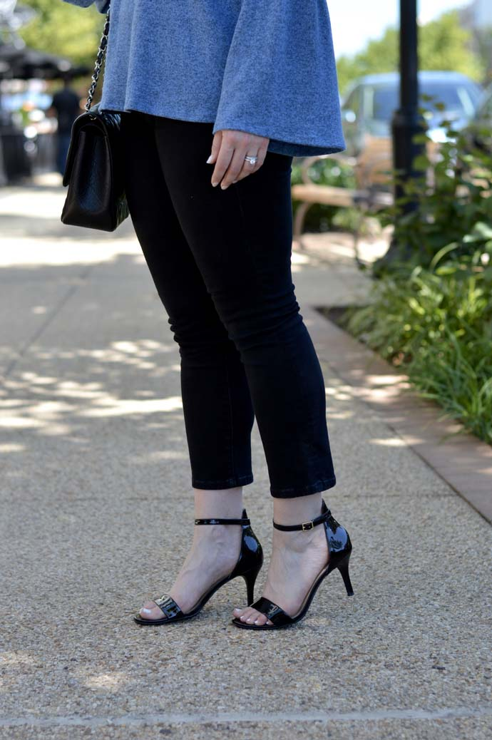 black cropped jeans sandals