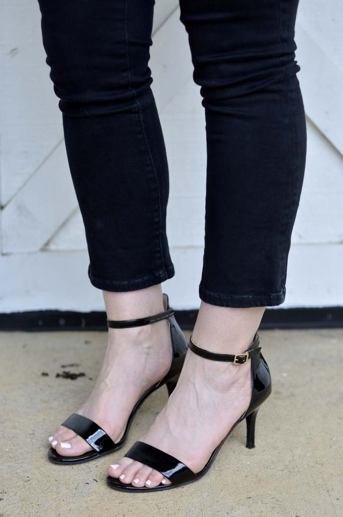 ankle strap black patent leather sandals