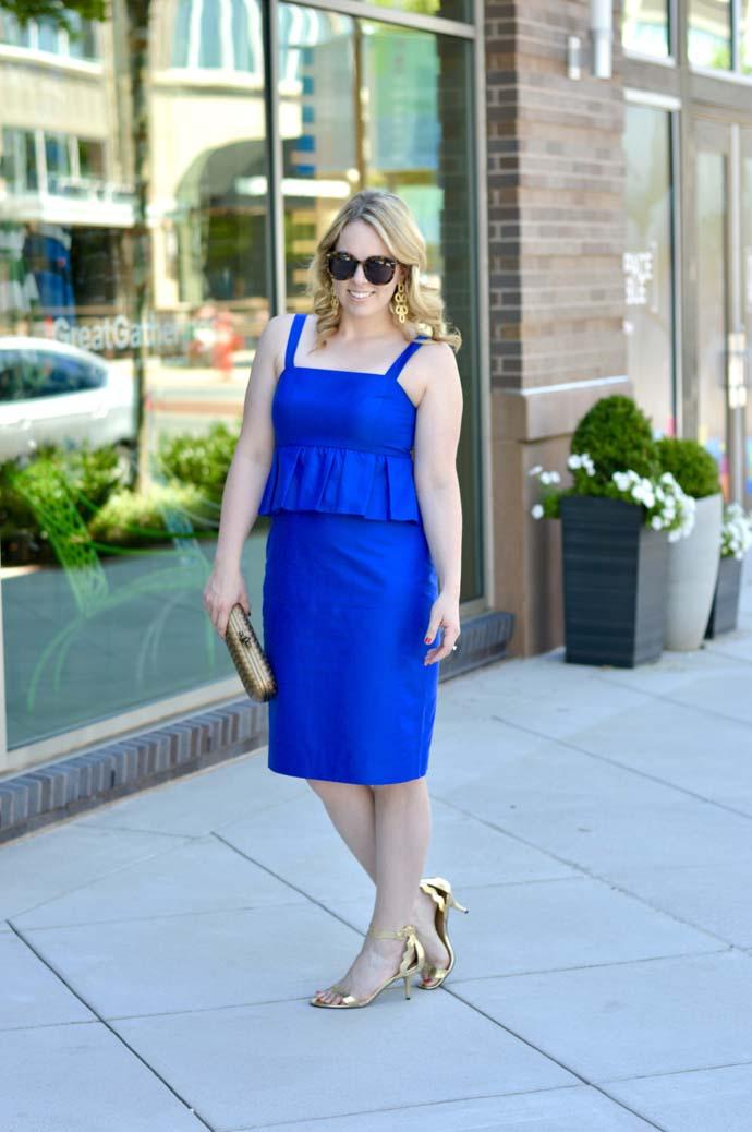 cobalt blue peplum dress