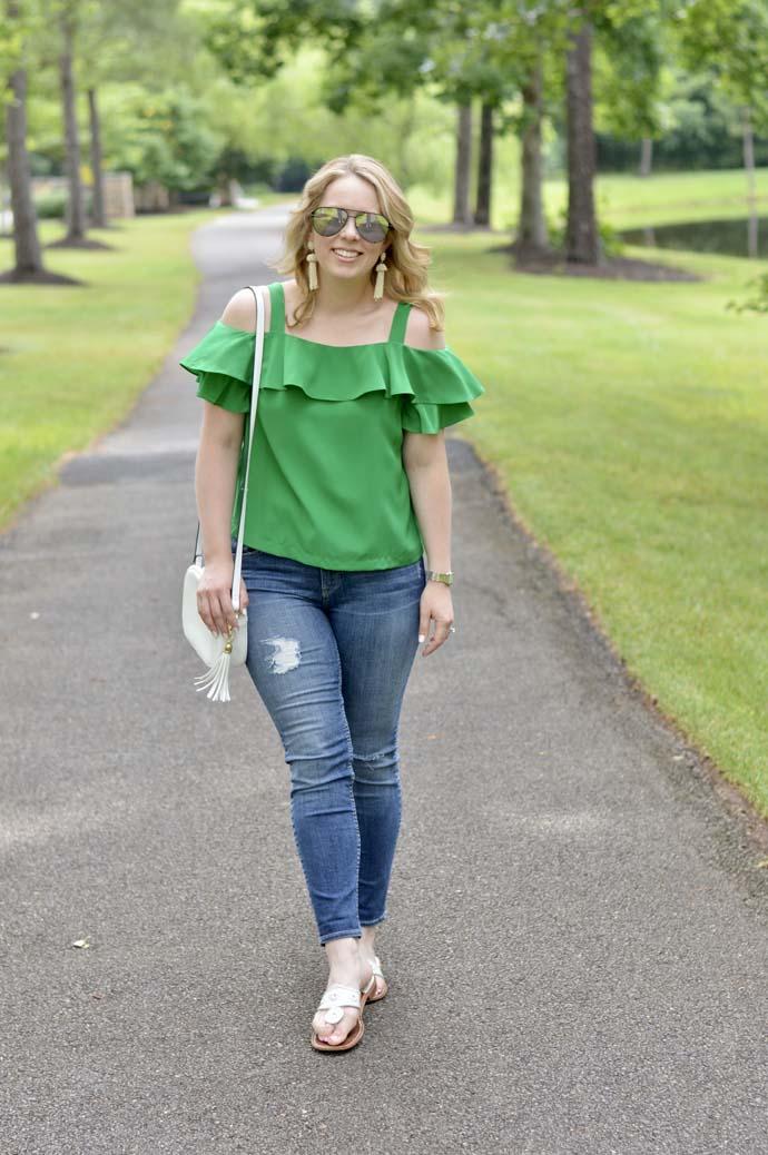 green cold shoulder top