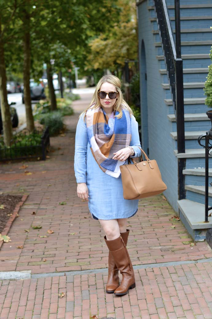 chambray dress fall outift