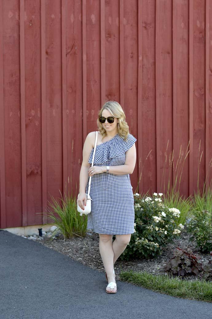 one shoulder gingham dress