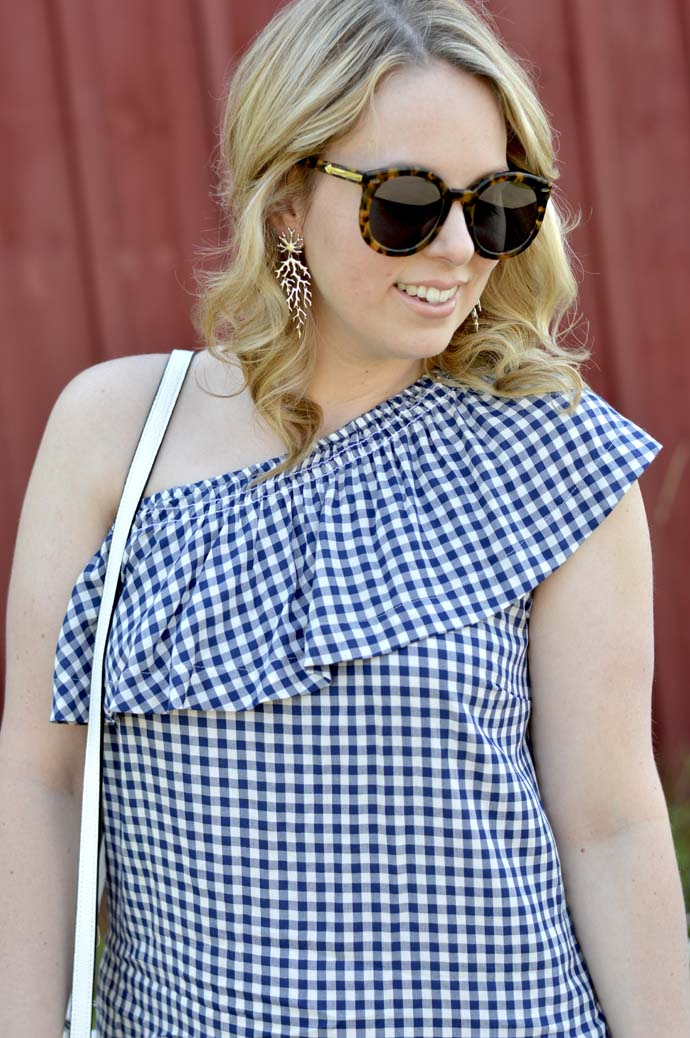 gingham one shoulder