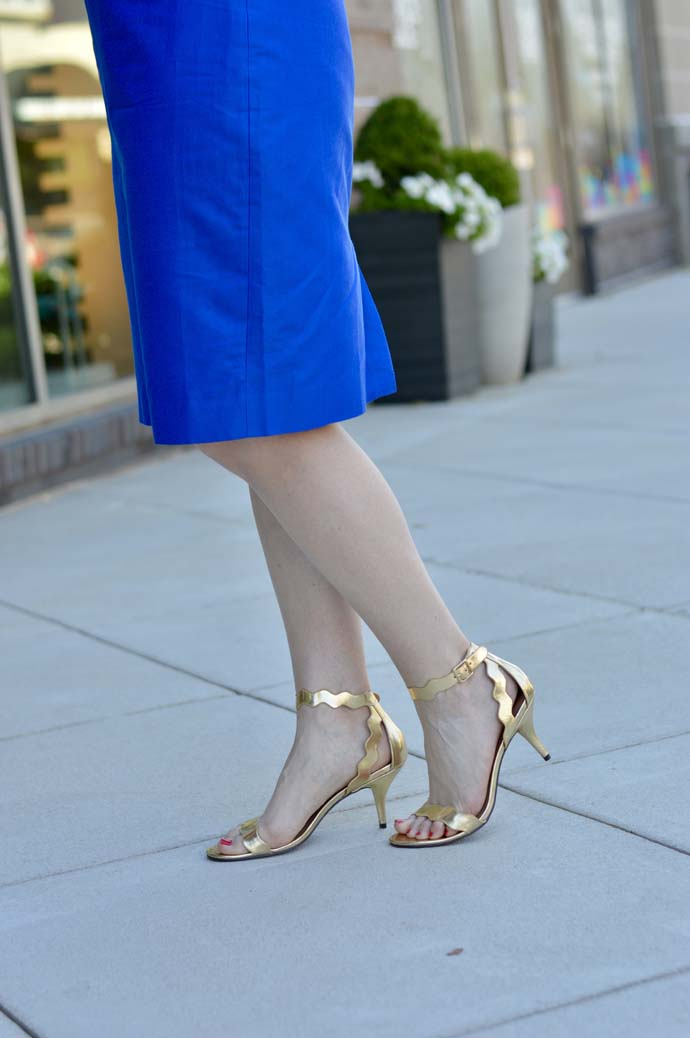 gold scallop sandals