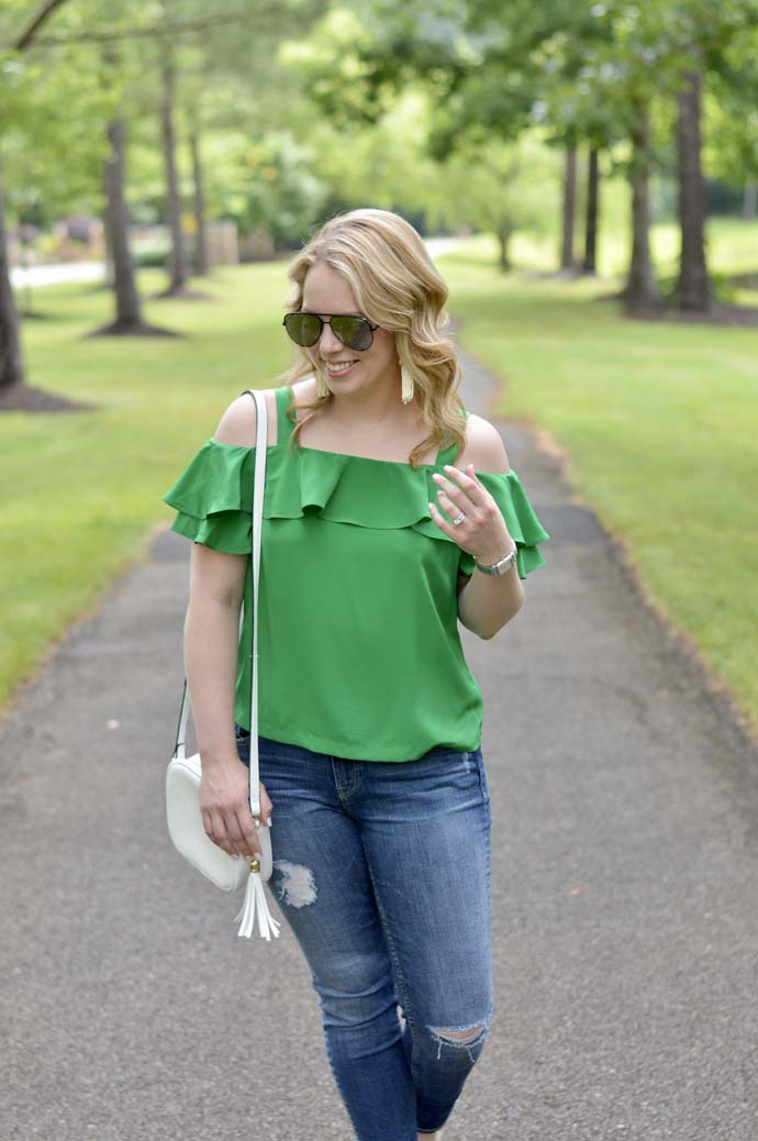 green ruffle top outfit