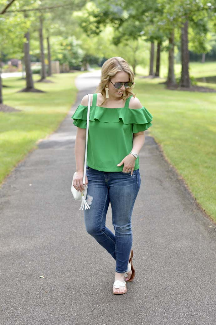 casual summer outfit idea cold shoulder top