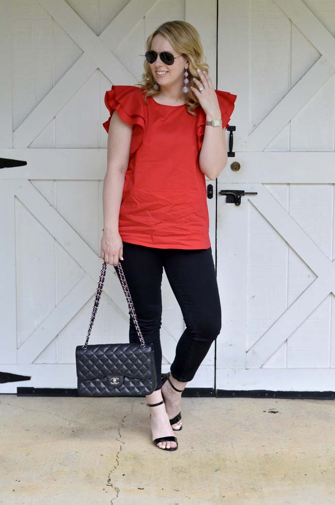 red double ruffle sleeve top