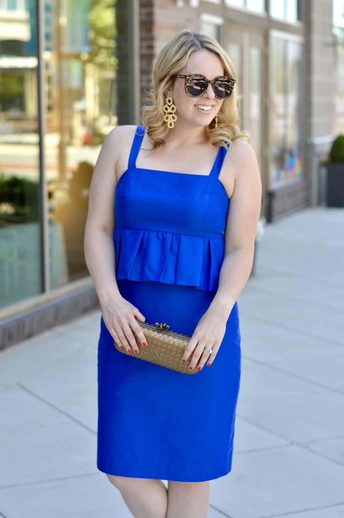 royal blue dress gold accessories